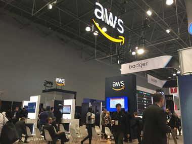 The Amazon Web Services booth at the National Retail Federation's annual trade show in New York in January.