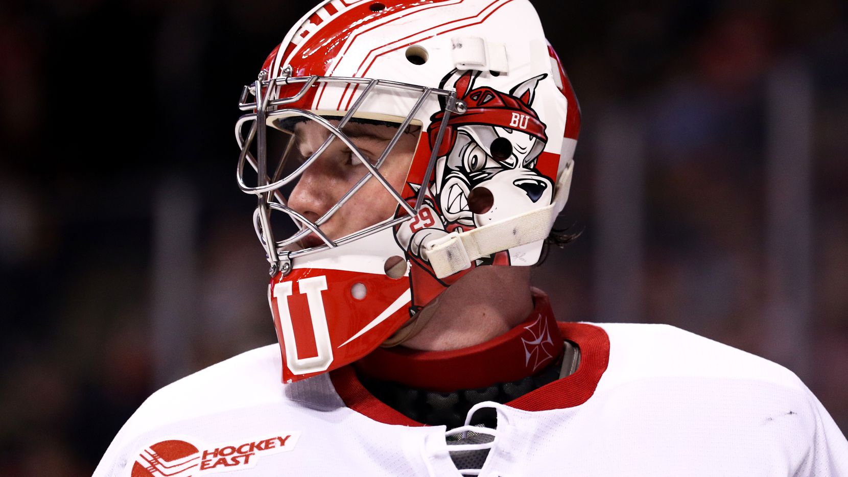 BOSTON, MA - FEBRUARY 13: Jake Oettinger #29 of the Boston University Terriers looks on during the second period of the 2017 Beanpot Tournament Championship against the Harvard Crimson at TD Garden on February 13, 2017 in Boston, Massachusetts. (Photo by Maddie Meyer/Getty Images)
