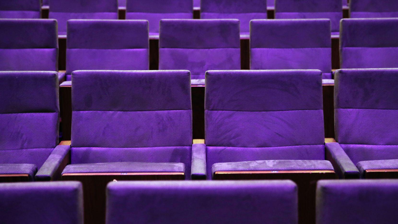 Theater seats in Dallas on Dec. 10, 2018.