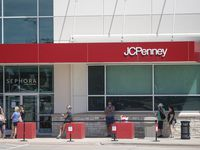 Shoppers line up as they await the reopening of J.C. Penney on May 1 in Fairview, Texas.