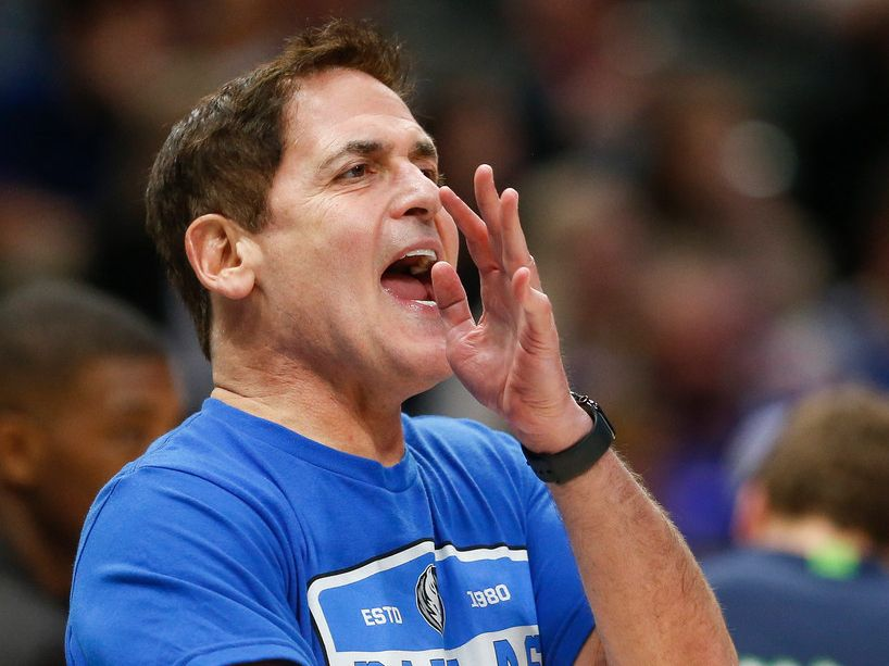 Dallas Mavericks owner Mark Cuban disputes an official's call during the second half of a NBA matchup between the Dallas Mavericks and the Sacramento Kings on Sunday, Dec. 8, 2019 at American Airlines Center in Dallas. (Ryan Michalesko/The Dallas Morning News)