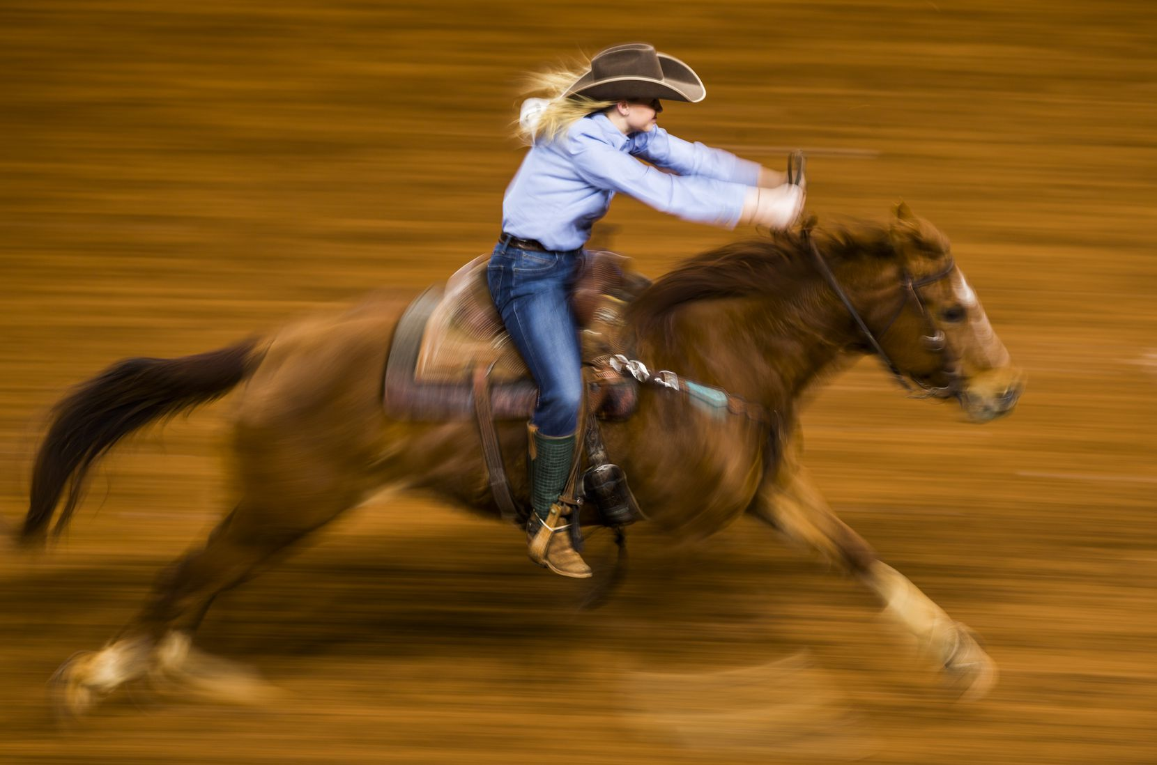 """A member of the RA Brown Ranch team competes in Ranch Girl's Barrel Race during a """"Best of the West"""" ranch rodeo event on Saturday, January 18, 2020 at Dickies Arena in Fort Worth. The """"Best of the West"""" Ranch Rodeo event is part of the 2020 Fort Worth Stock Show & Rodeo which is being held at Dickies Arena this year for the first time."""
