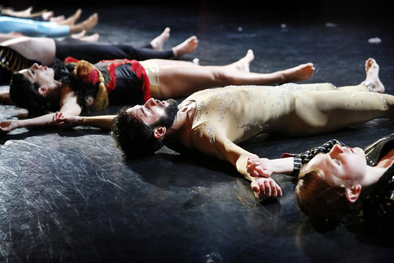 Members of Dark Circles Contemporary Dance (from left, Alex Karigan Farrior, Chadi El- Khoury and Kelsey Rohr) perform a scene from Aimless Young Man during a recent rehearsal.