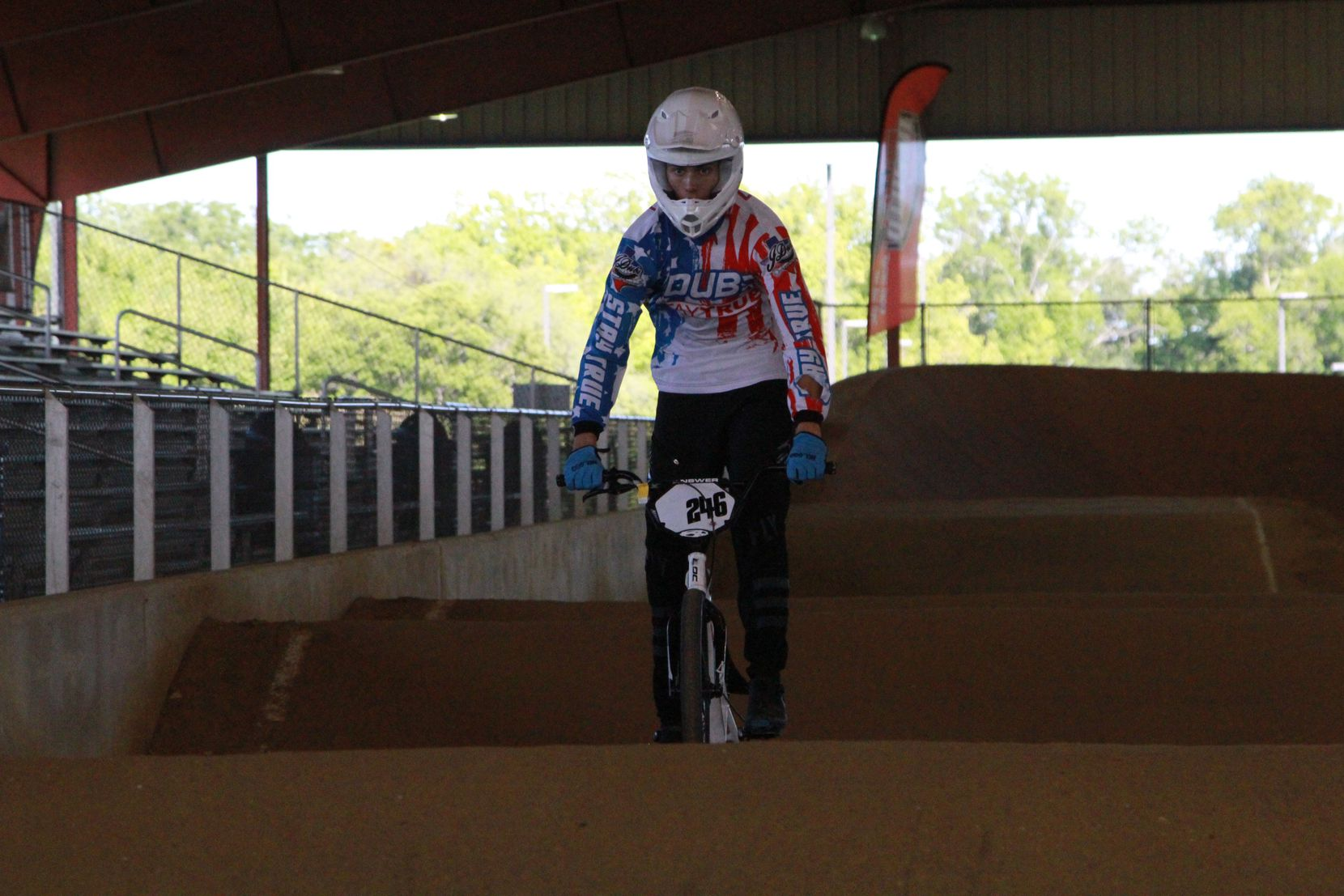 BMX rider Jakobe Irvin puts is caught mid action putting on a show during a demo at DeSoto BMX.