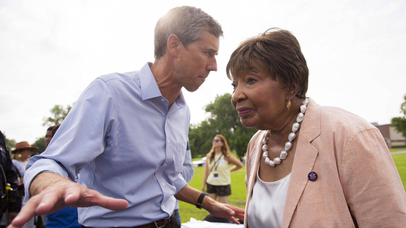Former congressman Beto O'Rourke speaks to U.S. Rep. Eddie Bernice Johnson before the start of his For the People, The Texas Drive for Democracy event on June 8, 2021, at Paul Quinn College in Dallas.