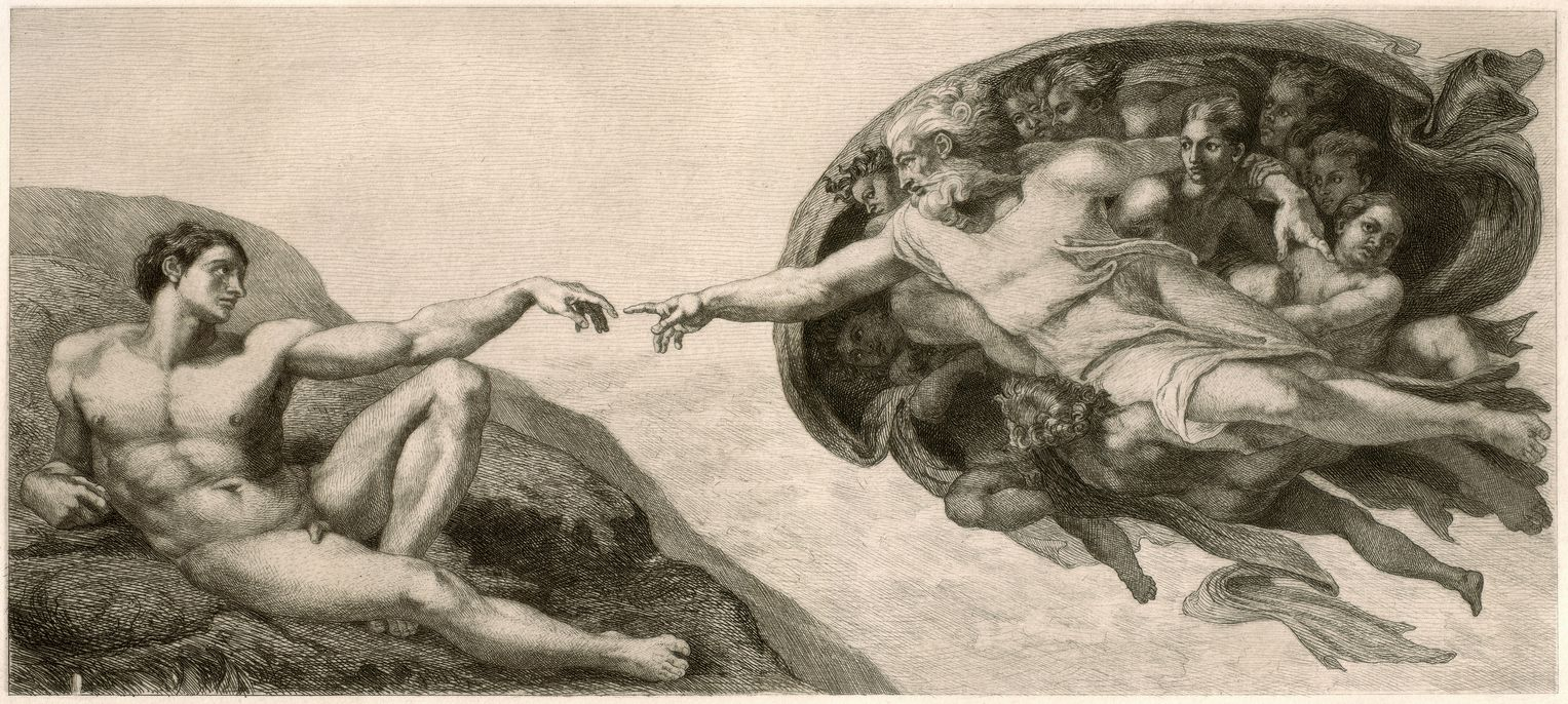 Scene from the famous frescoes of the Sistine Chapel in the Vatican by Michelangelo Buonarroti. Original etching by F. Boettcher, published in 1884.