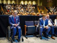 """Texas Gov. Greg Abbott has shrugged off Lt. Gov. Dan Patrick's pitch for a fourth special legislative session. While Patrick on Wednesday grounded the plea on his and Donald Trump's argument that """"more needs to be done"""" on elections, an Abbott spokeswoman demurred. The two top state leaders are shown at a forum on policing and race relations last year at Gateway Church Dallas Campus."""