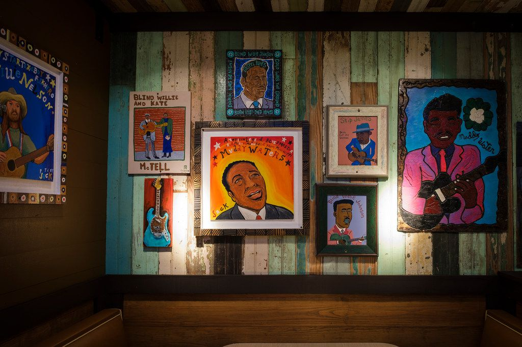 Artwork at Pappas Delta Blues Smokehouse on Friday, Sept. 13, 2019, in Plano. (Smiley N. Pool/The Dallas Morning News)