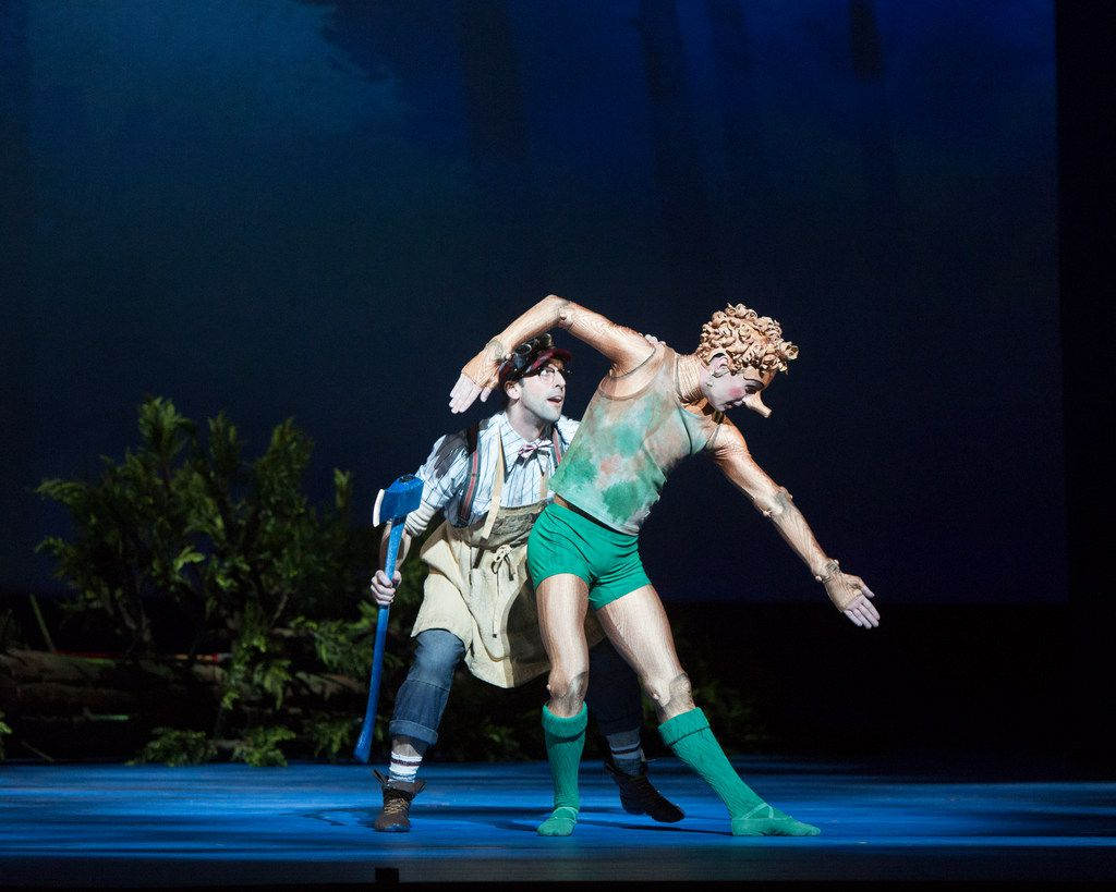 Geppetto and Pinocchio shortly after the wooden puppet is born from a felled tree in the premiere of Royal Ballet dancer-choreographer Will Tuckett's version of the cautionary 19th century fairytale at the National Ballet of Canada in 2017.