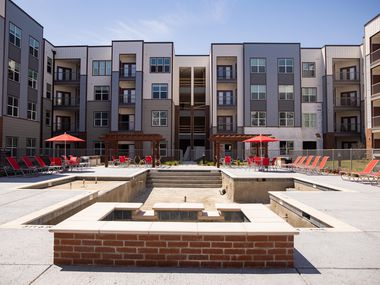 The almost-finished swimming pool area of the Palladium RedBird apartments.