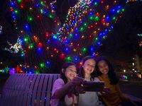 Nora Franco, de 8 años, Makenzy Dearson, de 8, y Sophia Shamel, de 9, de Farmers Branch, se toman una foto en el Vitruvian Park, en diciembre de 2019.