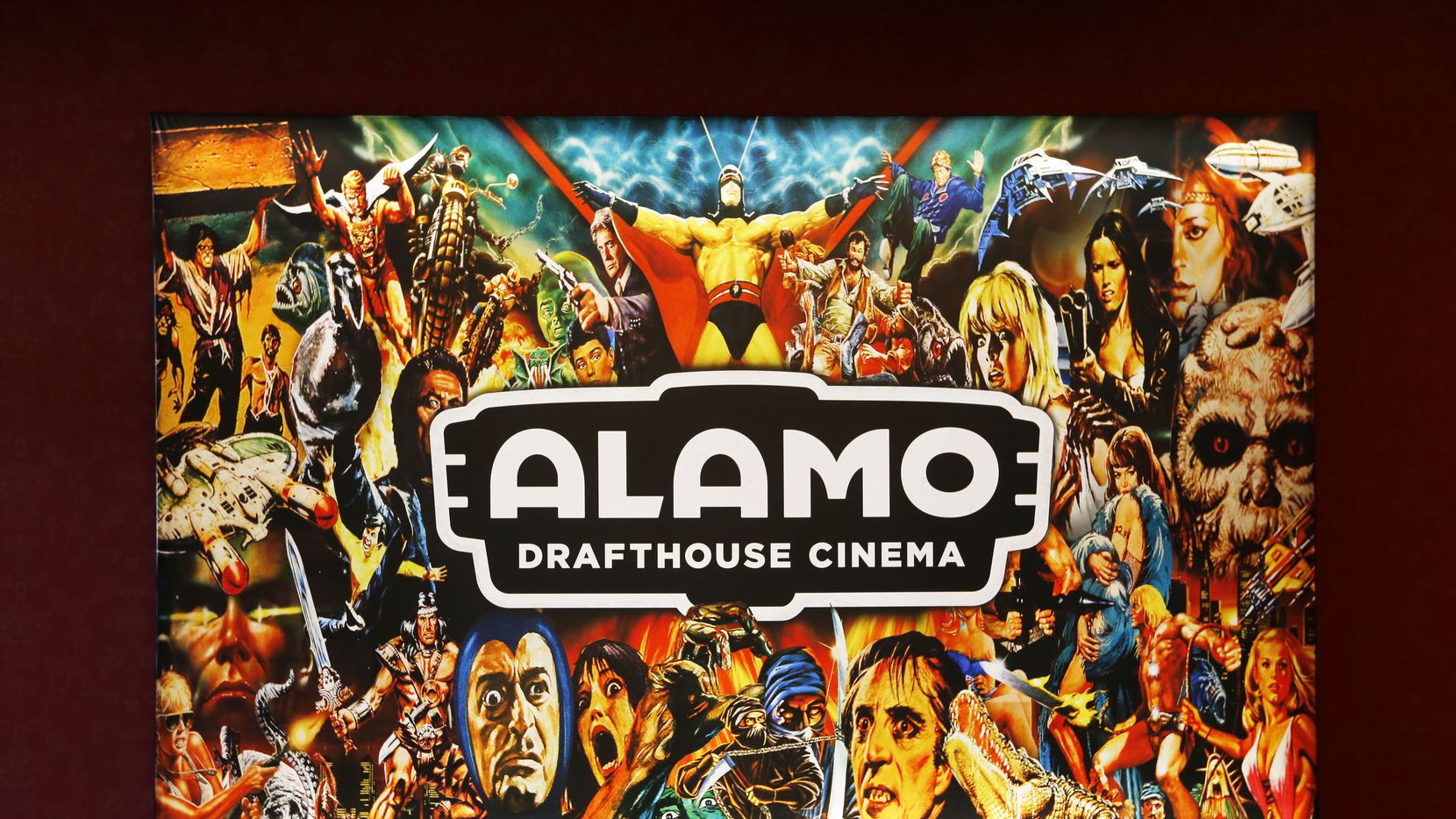 In this 2018 file photo, a sign in the lobby of the Alamo Drafthouse Cinema off Abrams Road in Dallas is shown.