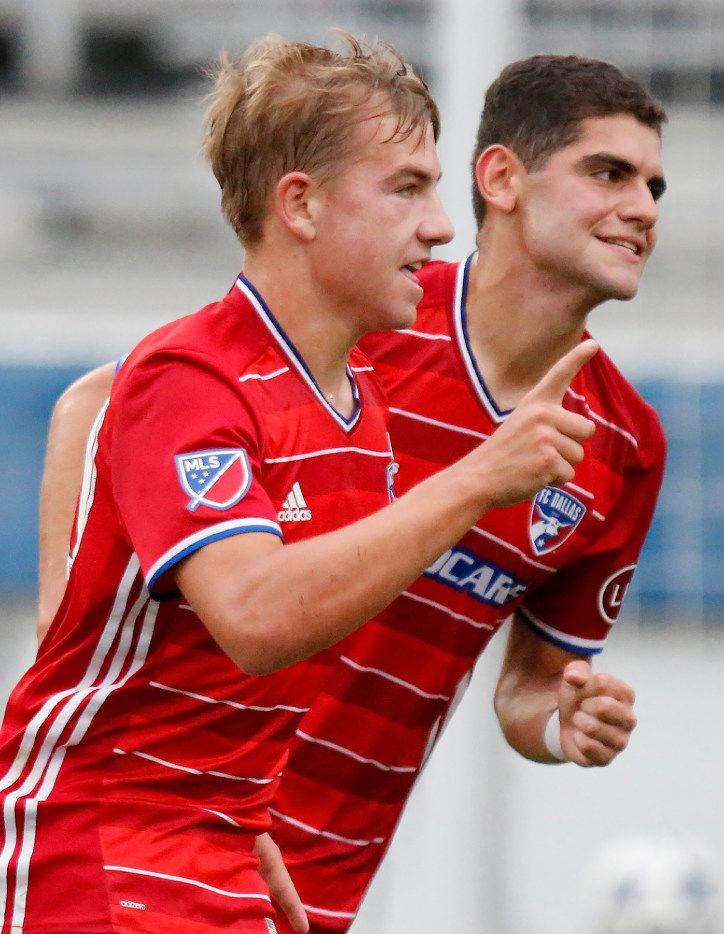 FC Dallas team mates Paxton Pomykal (10) and Aldo Quevado (9) jubilate after Pomykal scored the first goal of the game during the first half as FC Dallas U18 Academy hosted CF Monterrey Rayados in the Dallas Cup Super Group final at Toyota Stadium in Frisco on Sunday, April 16, 2017. (Photo by Stewart F. House)