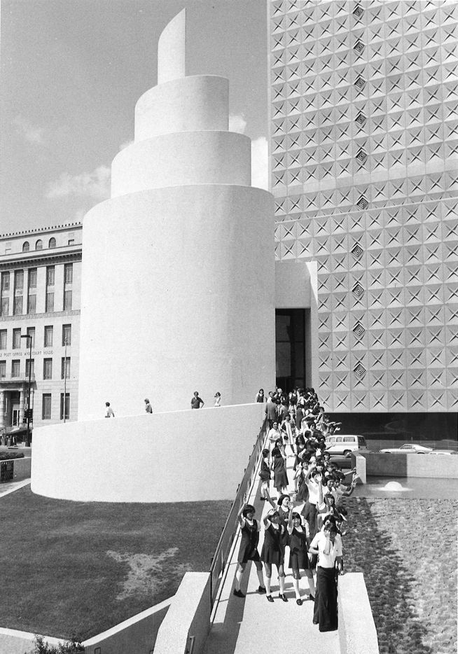 A group visits the Thanks-Giving Square chapel in 1978.