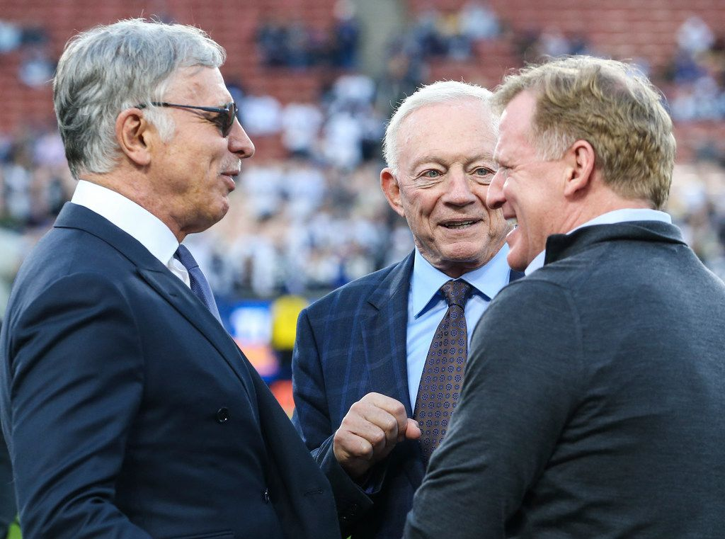 Los Angeles Rams owner Stan Kroenke (left), Cowboys owner Jerry Jones and NFL commissioner Roger Goodell talk before an NFC divisional playoff game between the Rams and Cowboys on Saturday, Jan. 12, 2019, at LA Memorial Coliseum in Los Angeles. (Ryan Michalesko/The Dallas Morning News)