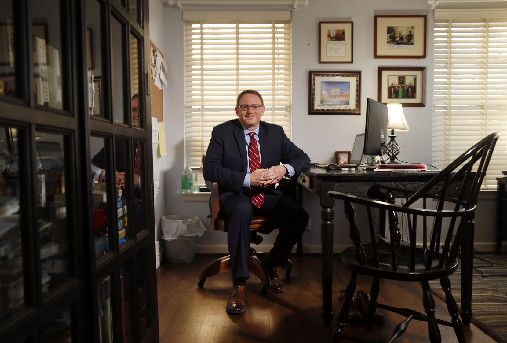 New Dallas Morning News Vice President and Editor of Editorials Brendan Miniter is pictured at his Dallas home, Tuesday, January 16, 2018. (Tom Fox/The Dallas Morning News)