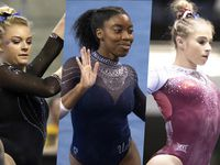 Florida's Alyssa Baumann (left), UCLA's Chae Campbell (center) and Oklahoma's Ragan Smith are three of several former North Texas gymnasts competing this weekend at the NCAA gymnastics championships in Fort Worth.