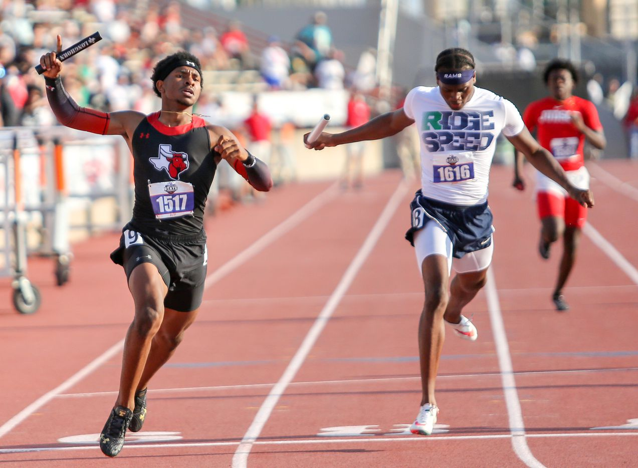 Diallo Good of Cedar Hill crosses the finish line in first place in the 6A Boys 4x200 meter relay during the UIL state track meet at the Mike A. Myers Stadium, at the University of Texas on May 8, 2021 in Austin, Texas.