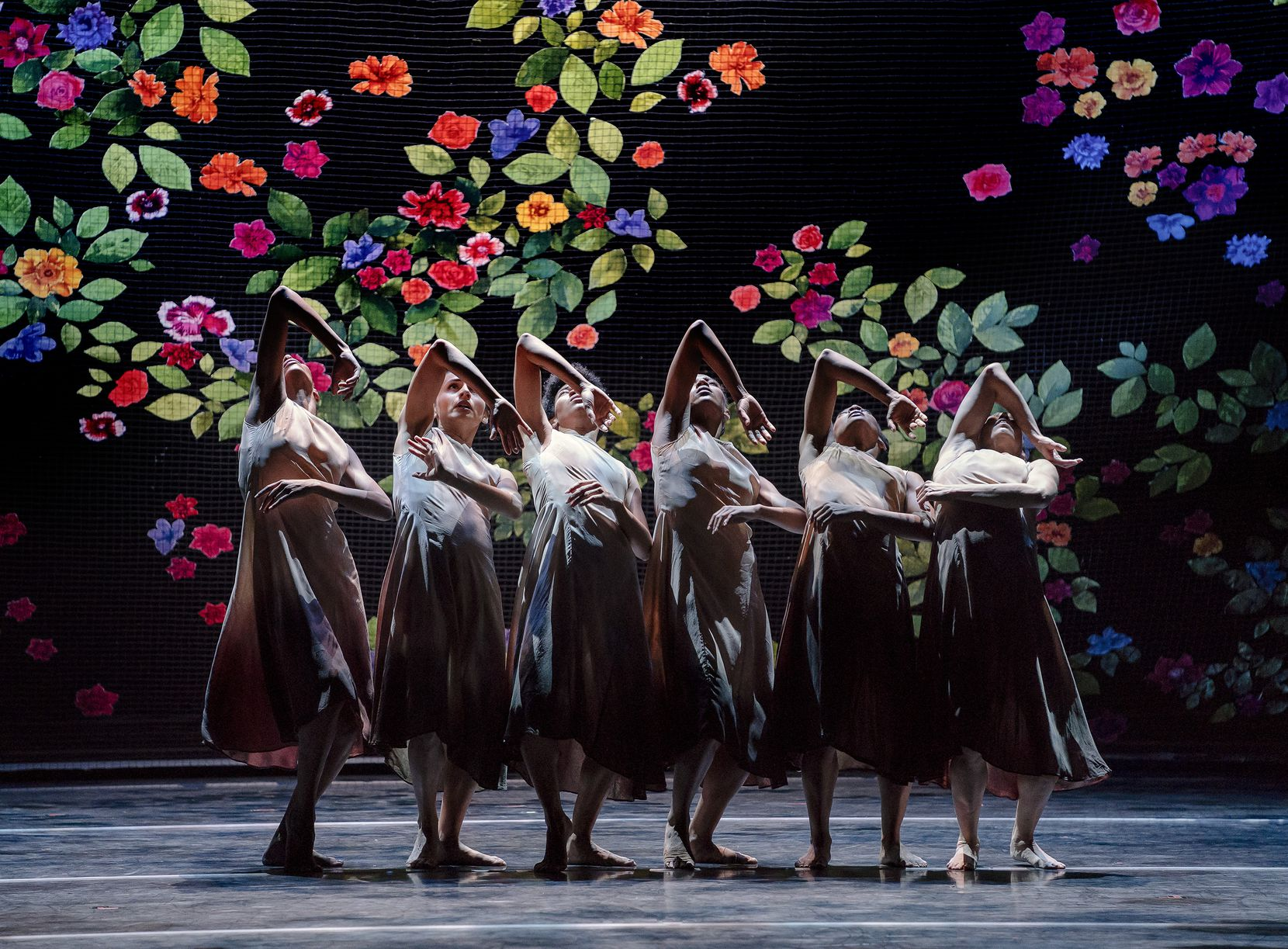 "Alvin Ailey American Dance Theater's female cast of resident choreographer Jamar Roberts' ""Ode."""