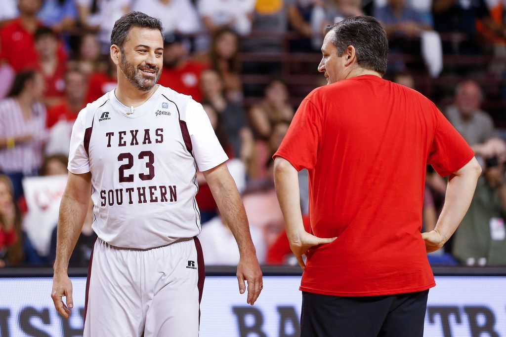 Jimmy Kimmel and Sen. Ted Cruz face off during the Blobfish Basketball Classic and one-on-one interview at Texas Southern University's Health & Physical Education Arena Saturday, June 16, 2018 in Houston. Cruz challenged Kimmel to the game after Kimmel blamed the Houston Rockets playoff loss on the senator. Cruz won 11-9.