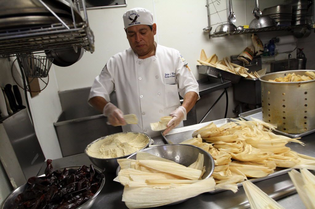 Tamale chef Jesse Moreno prepares tamales at his family business La Popular Tamale House in Dallas.