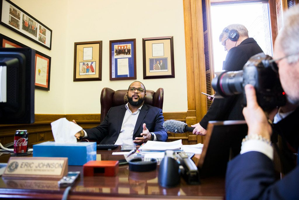 State Rep. Eric Johnson of Dallas spoke to members of the media earlier this month after the State Preservation Board voted to remove a Children of the Confederacy plaque displayed in the Texas Capitol.