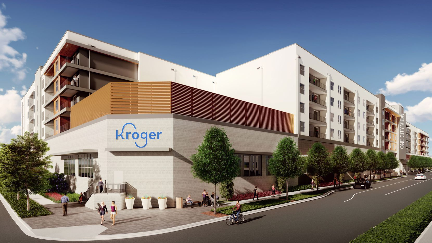 An 80,000-square-foot Kroger store would be located under four levels of apartments.