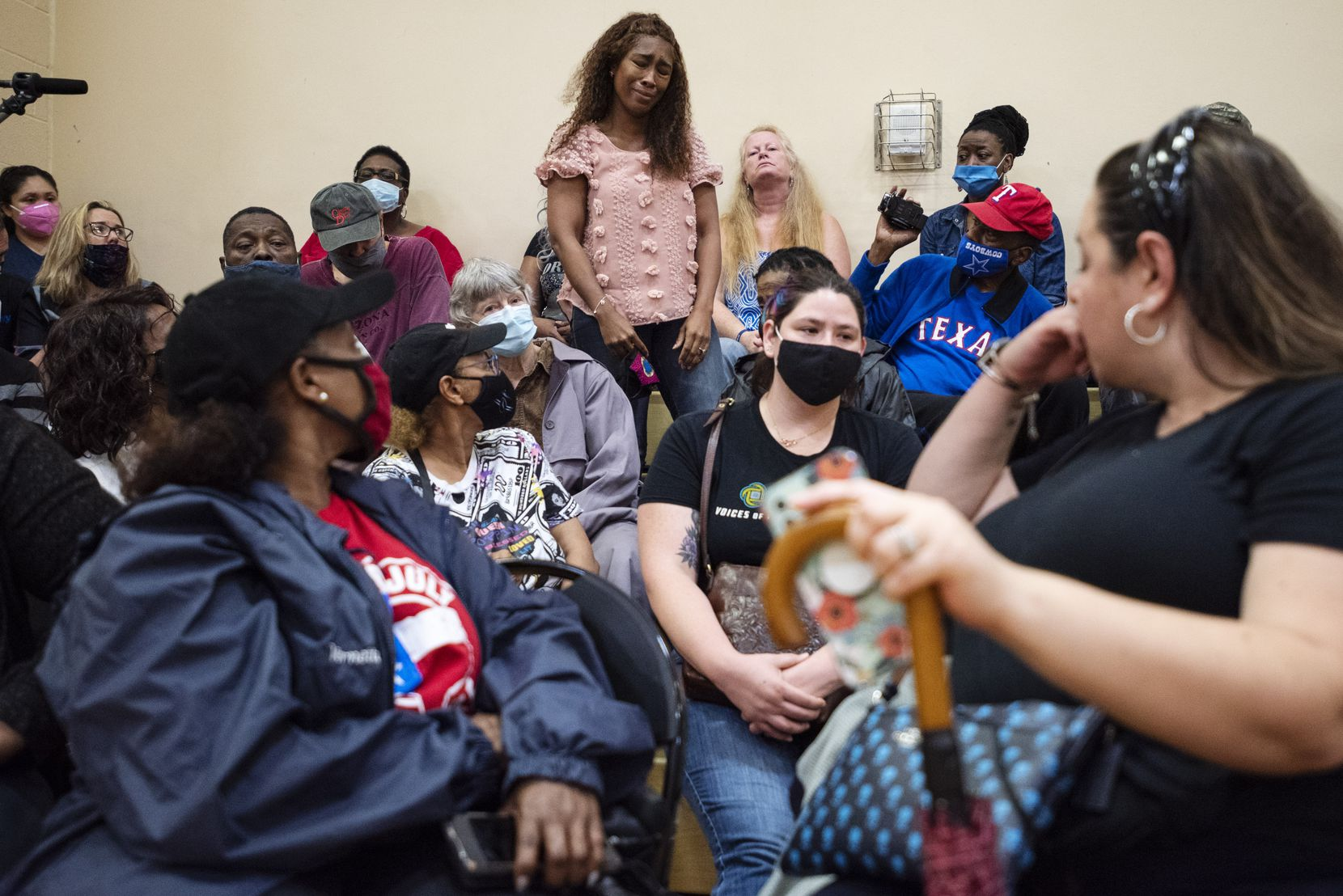 Antwainese Square, 39, (center) said she was the woman who found the body of 4-year-old Cash Gernon and made the 911 call, as she spoke during a community meeting with residents at the Park in the Woods Recreation Center in Dallas on Monday, May 24, 2021. Community members organized the meeting via the NextDoor app and met with city officials, including District 3 City Council member Casey Thomas and Dallas police Chief Eddie Garcia, about the recent death of 4-year-old Cash Gernon.