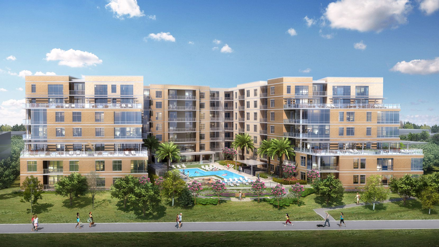 The Katy apartments under construction on the eastern edge of Highland Park will target older renters.
