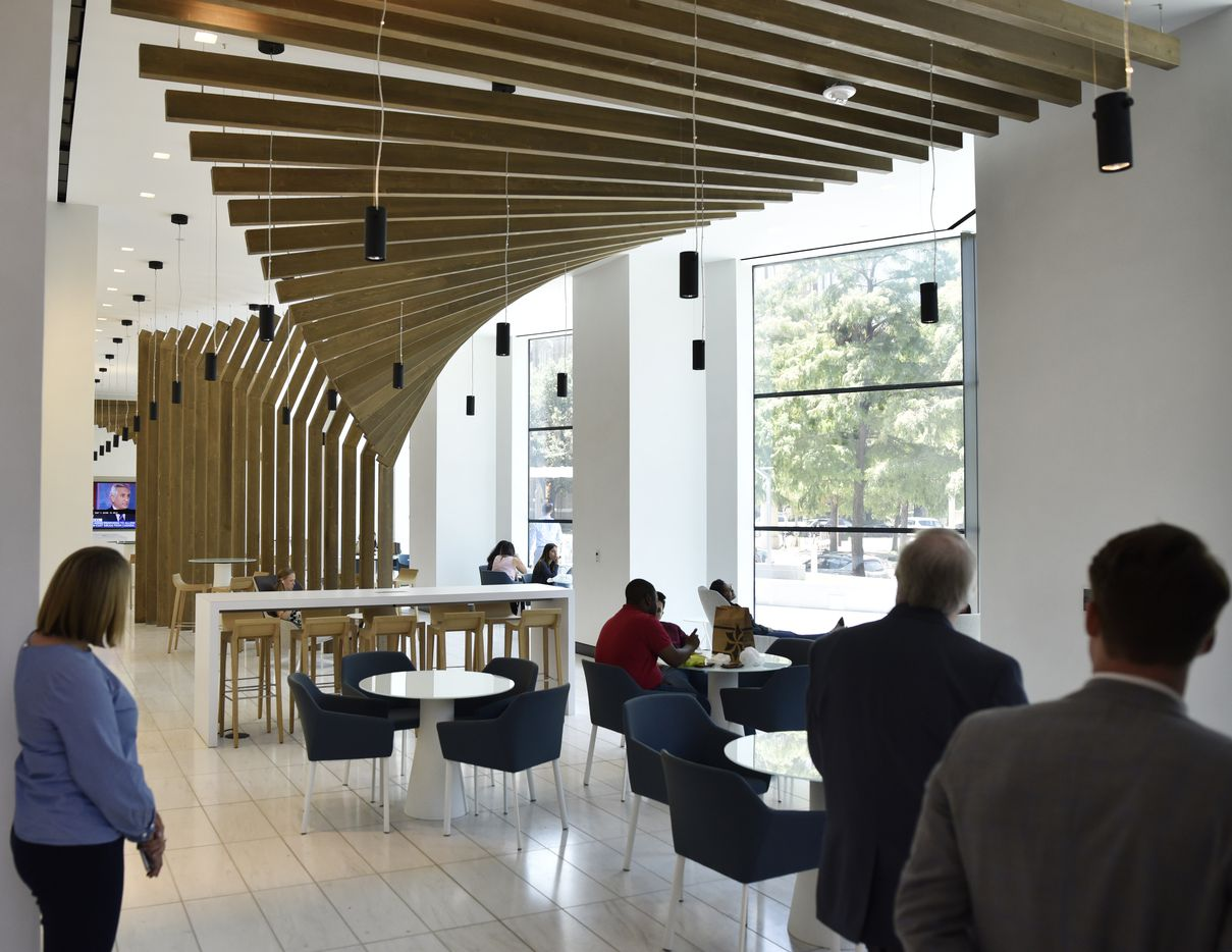 Lounge space forr work breaks and lunch part of the newly updated Trammell Crow Center in downtown Dallas.