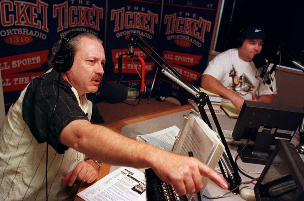 Mike Rhyner, left, and Arlington resident Greg Williams host 'The Hardline,' the afternoon show on  The Ticket, KTCK-AM (1310) in a 2003 photo.