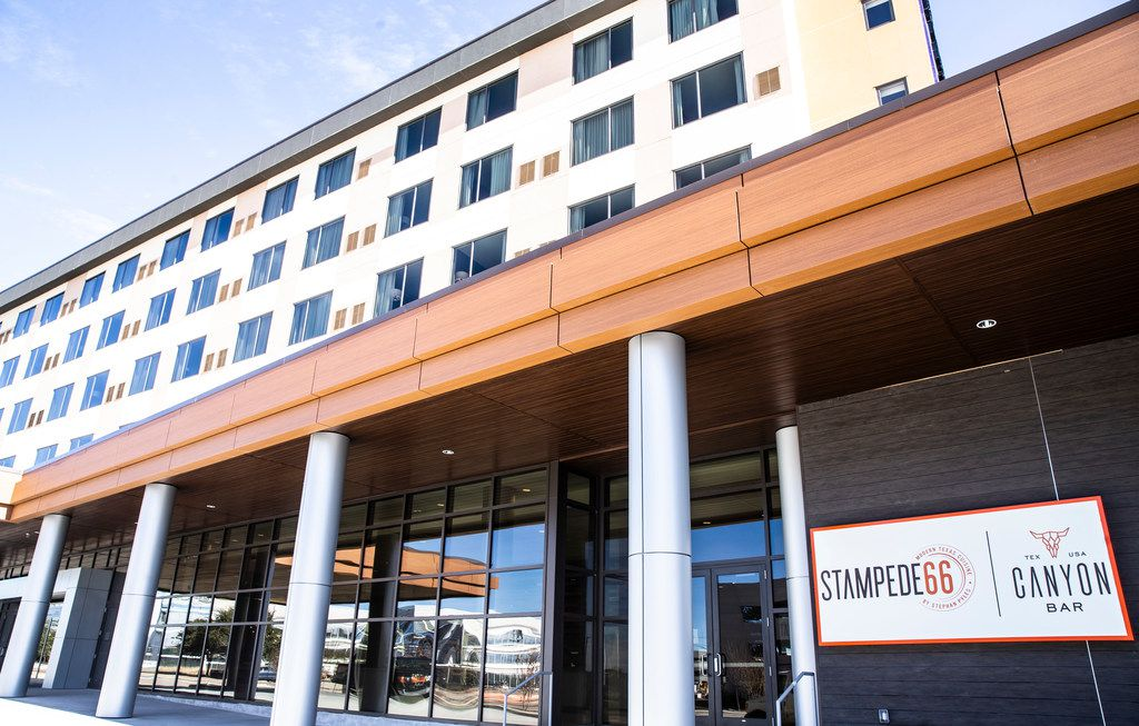 The new Marriott hotel in Allen is anchored by a Stampede 66 restaurant.
