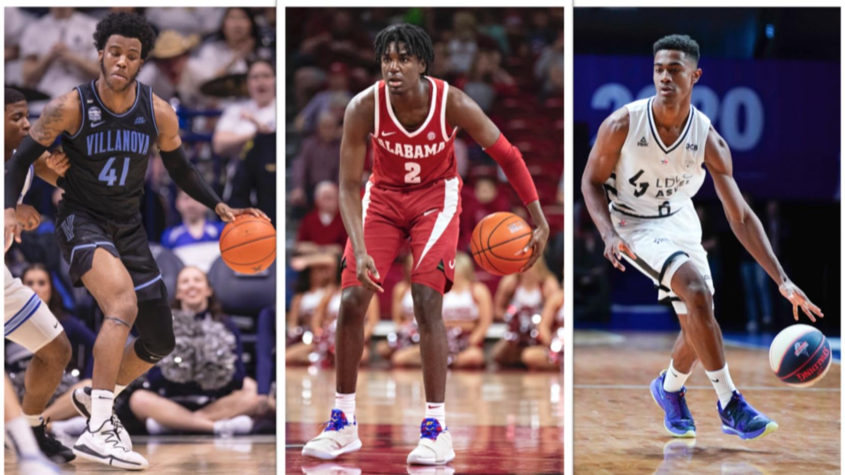 Los jugadores colegiales Kira Lewis Jr. (Alabama), Saddiq Bey (Villanova) y  Theo Maledon (ASVEL Basket).