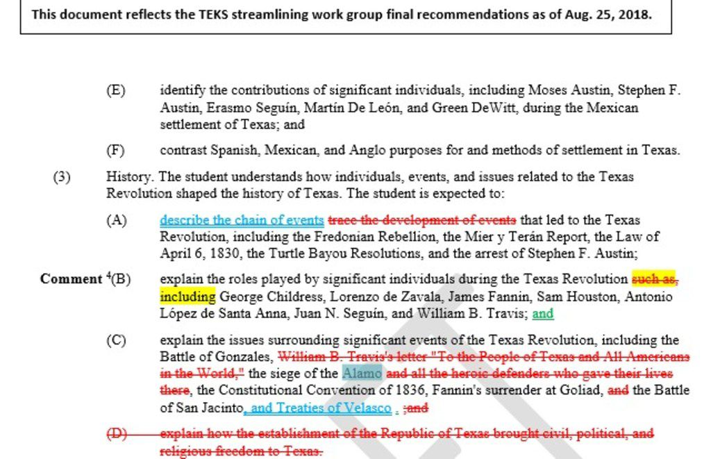 "Last month, Work Group E, a group of educators and historians that is one of the advisory panels helping the State Board of Education update and tighten curriculum standards, urged that the label ""heroic"" be struck from a reference to the Alamo's defenders in the Texas Essential Knowledge and Skills."