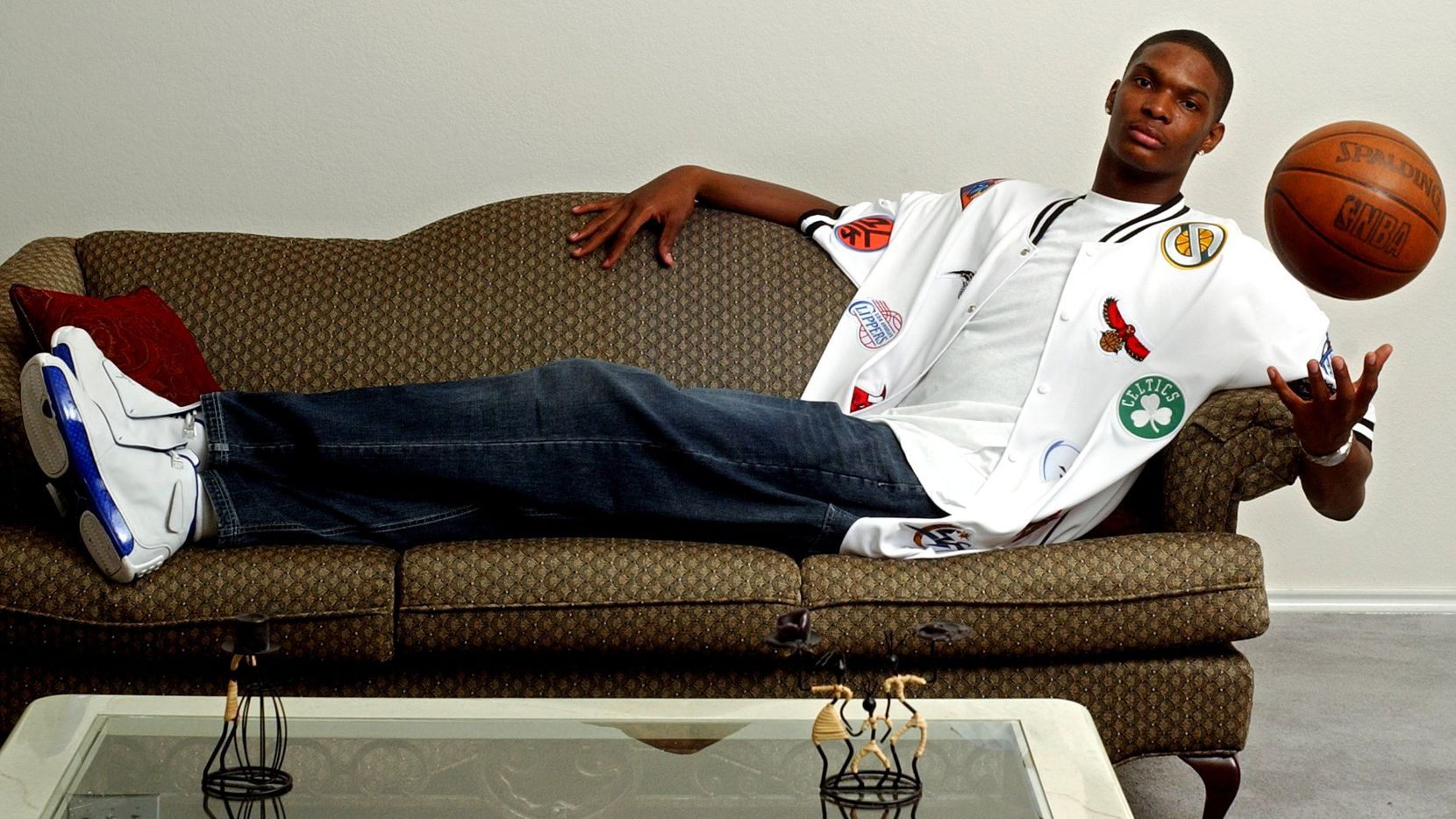 Chris Bosh as an NBA draft prospect at his home in Lancaster on Sunday, June 22, 2003. Bosh was a former Lincoln High School basketball star before his standout NBA career.