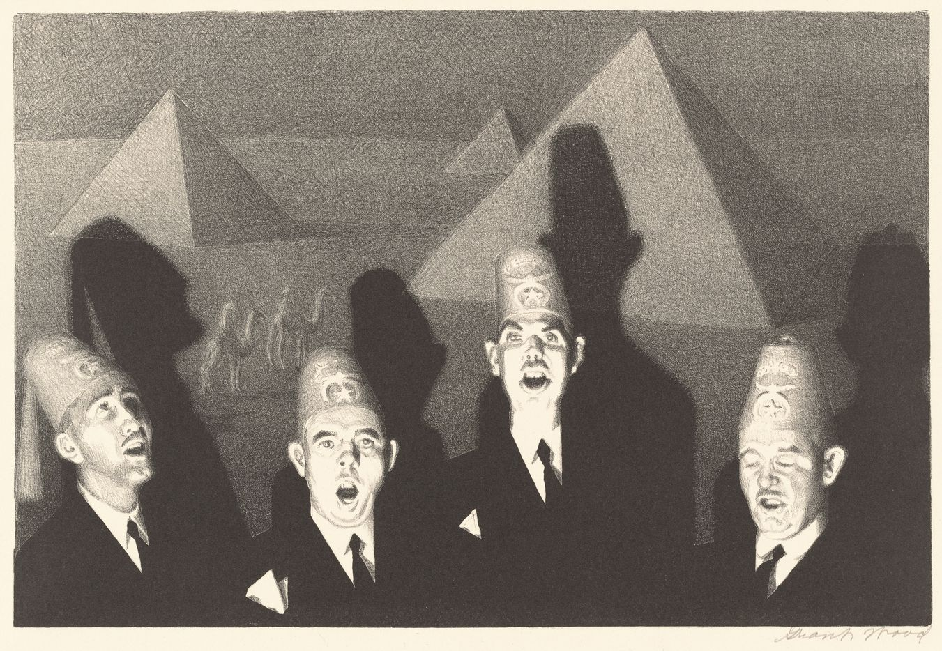 Grant Wood, Shrine Quartet, 1939, lithograph, National Gallery of Art, Washington, Reba and Dave Williams Collection, Florian Carr Fund and Gift of the Print Research Foundation