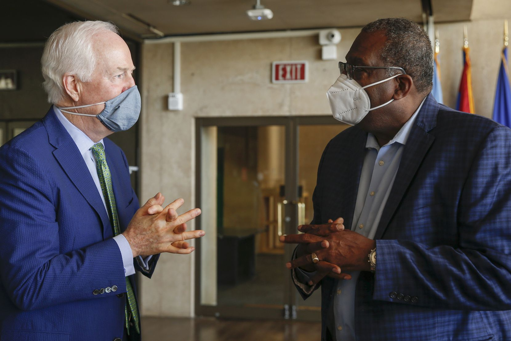 U.S. Sen. John Cornyn, R-Texas (left) and Texas state Sen. Royce West, D-Dallas, conversed following a law enforcement roundtable on Friday, June 12, 2020 at City Hall in Dallas.(Ryan Michalesko/The Dallas Morning News)