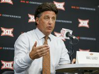 Oklahoma State head football coach Mike Gundy speaks  during a breakout session at the Big 12 Conference Media Days at AT&T Stadium on Thursday, July 15, 2021, in Arlington.
