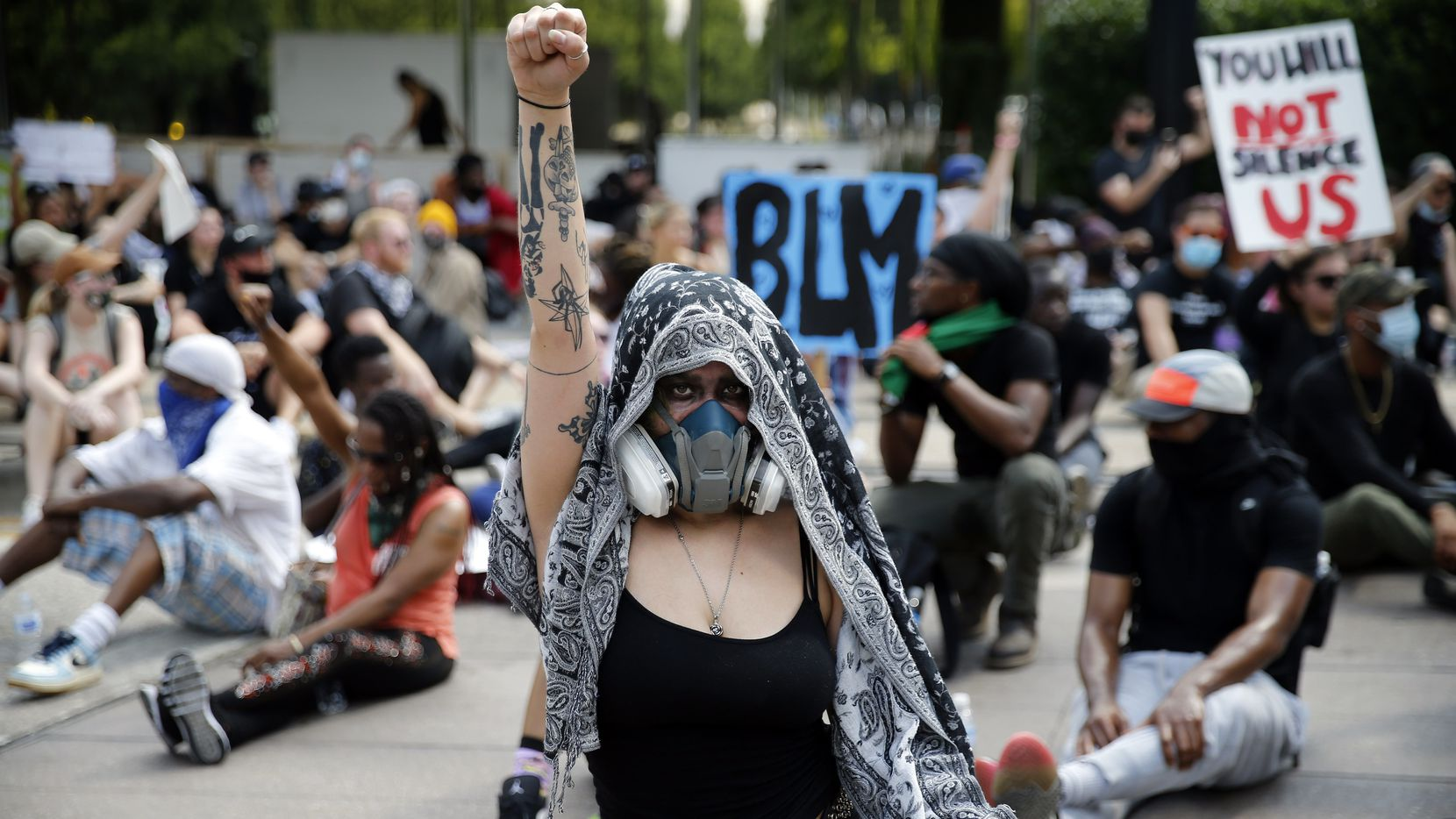 Protesters supporting Black Lives Matter blocked an intersection at Klyde Warren Park last week. Companies around the country voiced their support of peaceful protests, and some — including AT&T, American Airlines and the Business Roundtable — pledged to work for policies and laws to address injustice.