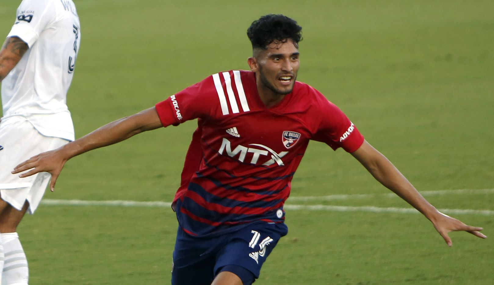 FC Dallas forward Ricardo Pepe (16) celebrates a goal to break a scoreless tie during first half action against LA Galaxy. The two teams played their MLS match at Toyota Stadium in Frisco on July 24, 2021.