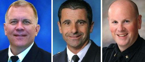 The City of Frisco has named three finalists in its search for a new police chief: (from left)  Stephen Max Geron, major and acting deputy chief with the Dallas Police Department; David Pughes, executive assistant police chief with the Dallas Police Department; and David Shilson, deputy chief with the Frisco Police Department.