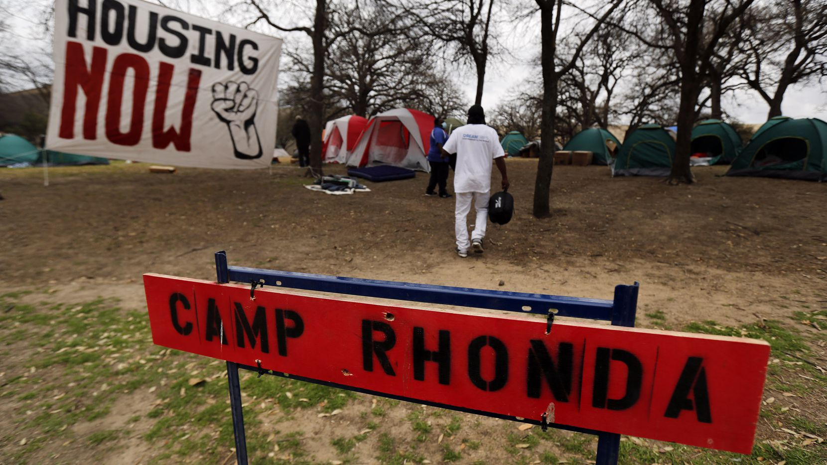 Between 30-40 people without housing setup Camp Rhonda adjacent to Pioneer Park Cemetery in downtown Dallas, Tuesday, March 9, 2021. The City of Dallas moved Camp Rhonda out of a private site near I-45 and Ferris St. (Tom Fox/The Dallas Morning News)