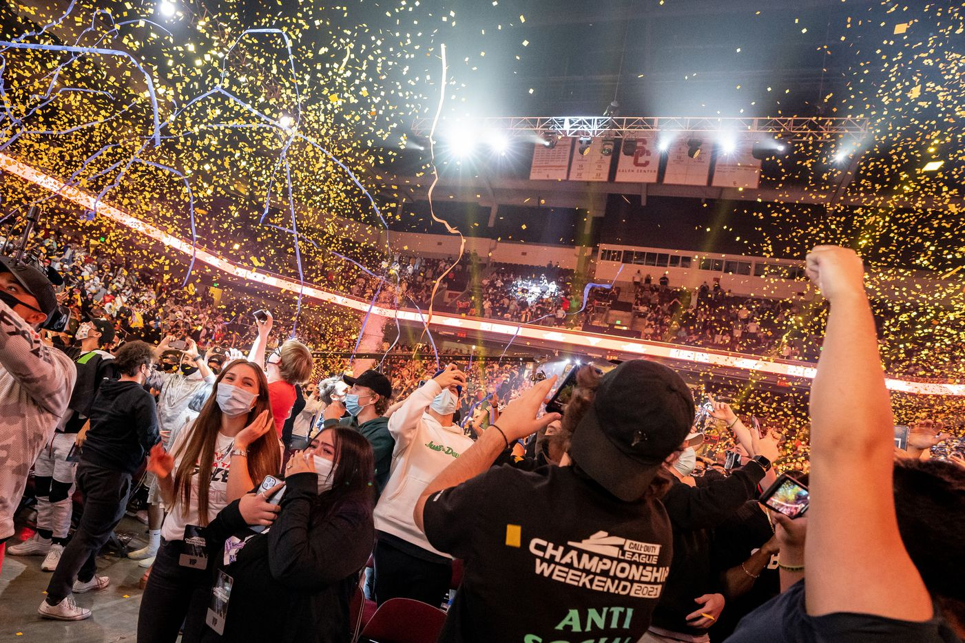 Atlanta FaZe fans celebrate their team's victory during Call of Duty league championship at the Galen Center on Sunday, August 22, 2021 in Los Angeles, California. The Atlanta FaZe beat the Toronto Ultra 5 - 3. (Justin L. Stewart/Special Contributor)