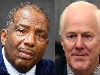 State Sen. Royce West, D-Dallas, during a meeting with the The Dallas Morning News editorial board on Feb. 5, 2020. (Smiley N. Pool/The Dallas Morning News) At right, Sen. John Cornyn arrives at the U.S. Senate for day one of President Donald Trump's impeachment trial on Jan. 23, 2020. (Mark Wilson/Getty Images)