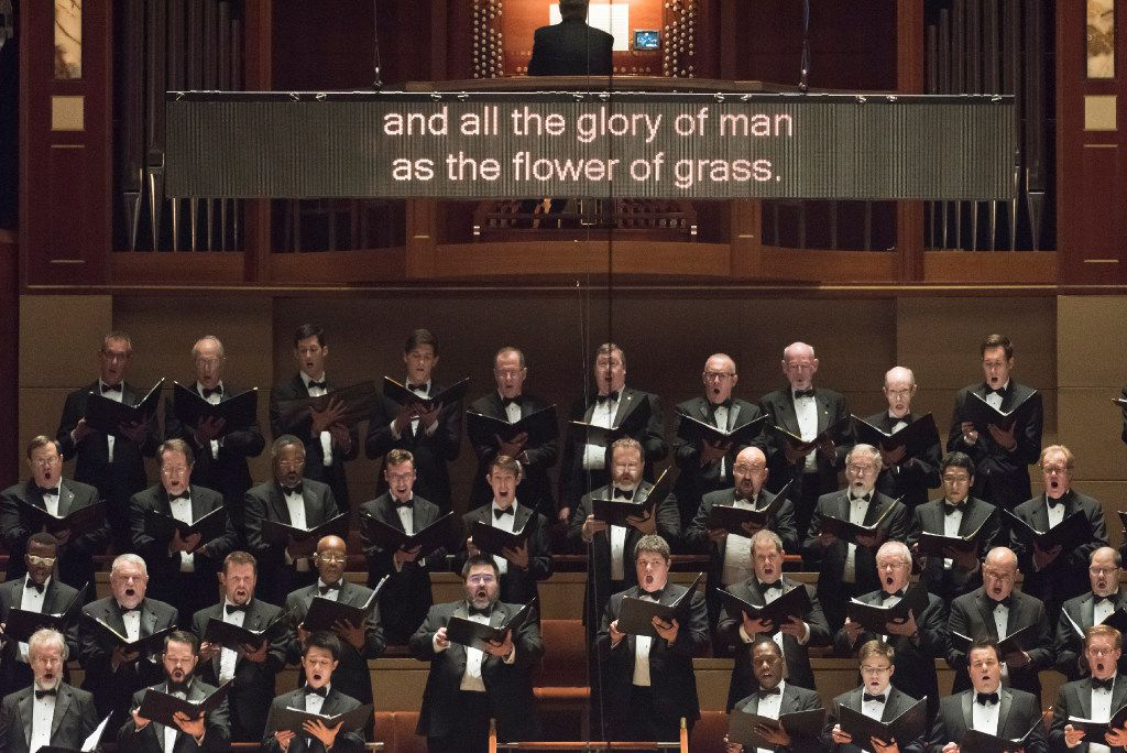 Members of the Dallas Symphony Orchestra perform Brahms' German Requiem Thursda  at the Morton H. Meyerson Symphony Center.