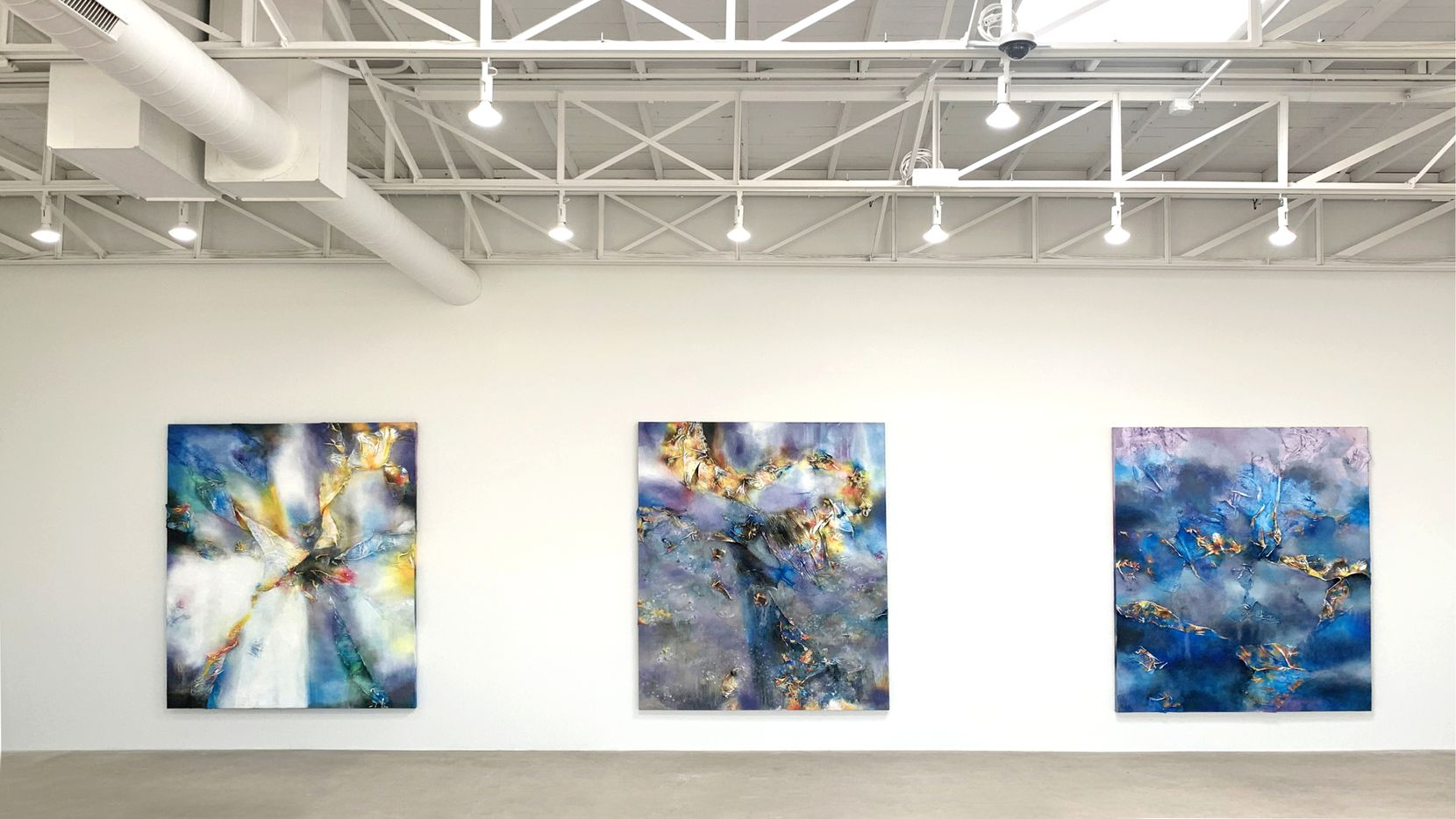"""These 2021 works by Leslie Martinez are the inaugural show at And Now gallery's new space on Dragon Street in Dallas. From left: """"Form Revealed Through Decantation (Sharp Angles of the Light Splintered in All Directions)""""; """"Your Life Became a Sundial When Your Body Dropped the Earth""""; """"Cistern and Artifact at the Golden Edge of the Sky Rim."""""""