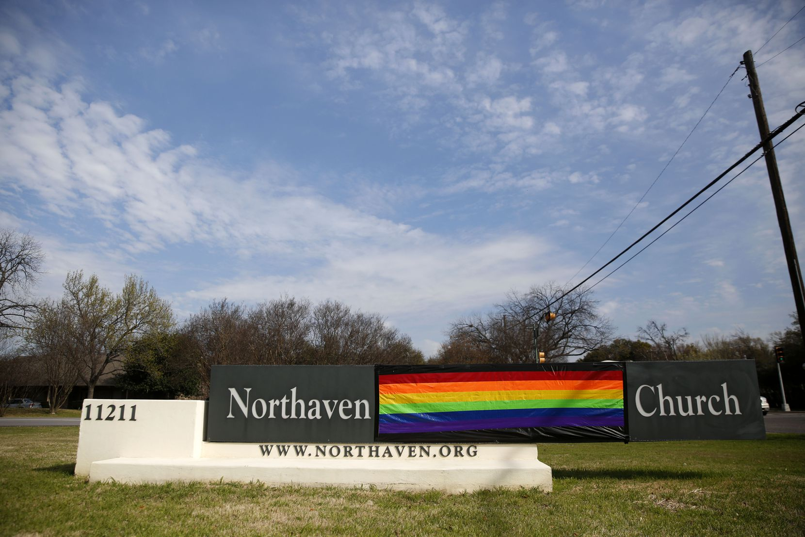 Northaven United Methodist Church in Dallas is one of several reconciling congregations — on the front lines of the fight for LGBTQ inclusion in the denomination — that covered its sign with a rainbow flag after February's vote for more restrictions on same-sex marriages and ordination.