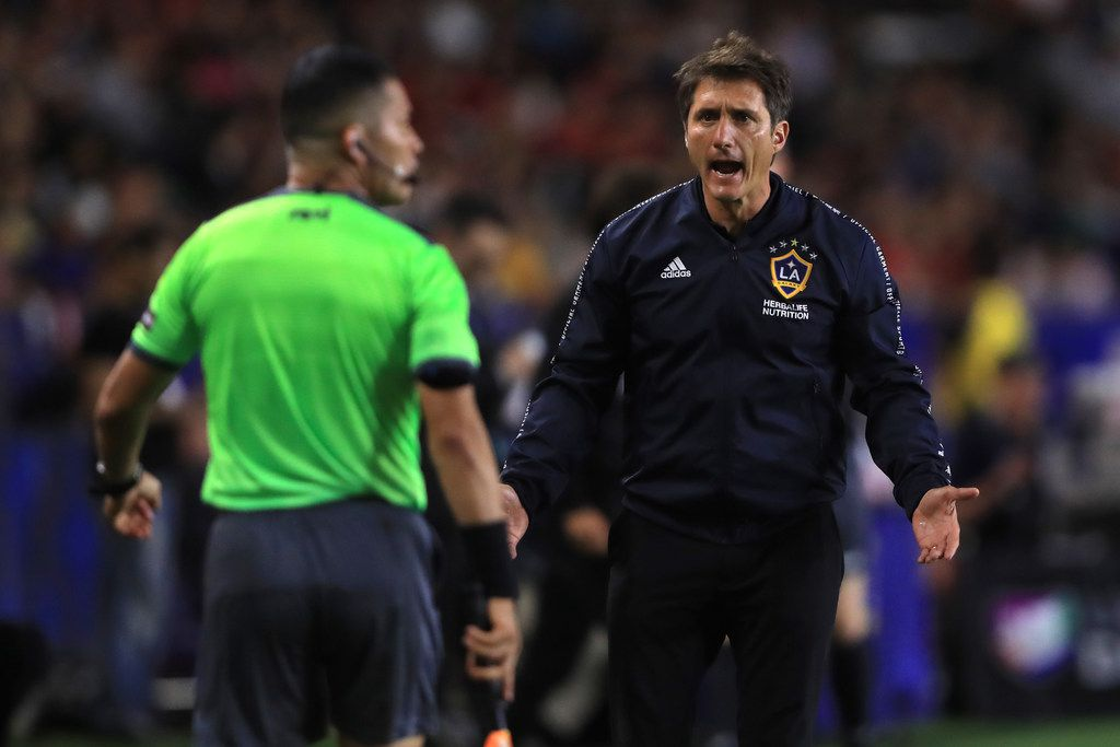 CARSON, CALIFORNIA - JULY 23:  Manager Guillermo Barros Schelotto of the Los Angeles Galaxy disputes call during the second half of the quarterfinal match of the 2019 Leagues Cup against Tijuana at Dignity Health Sports Park on July 23, 2019 in Carson, California. (Photo by Sean M. Haffey/Getty Images)