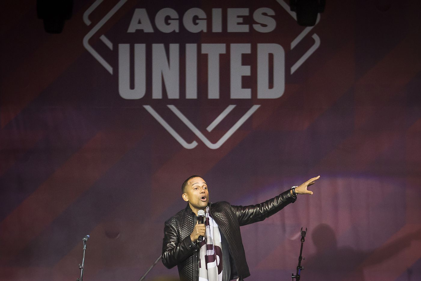 Actor Hill Harper speaks during the Aggies United event.