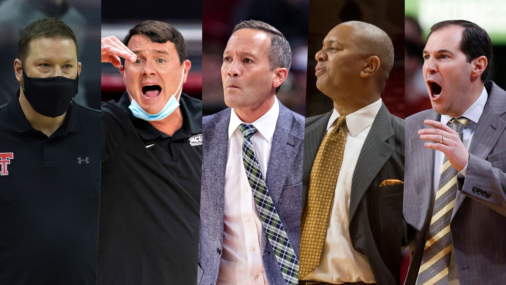 These five coaches will all lead their respective Texas teams in the NCAA Tournament. More than hailing from the same state, many have personal connections. (From left to right Texas Tech head coach Chris Beard, Abilene Christian HC Joe Golding, North Texas head coach Grant McCasland, Texas Southern HC Johnny Jones and Baylor head coach Scott Drew.)